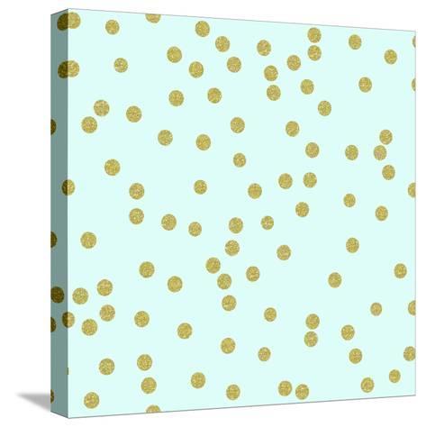 Pale Aqua Golden Round Confetti-Tina Lavoie-Stretched Canvas Print
