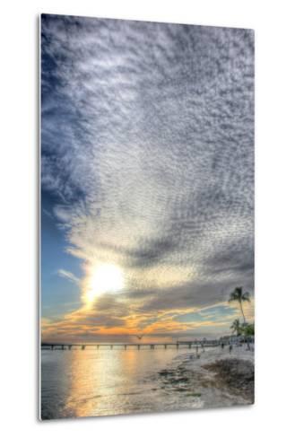 Key West Pier Sunset Vertical-Robert Goldwitz-Metal Print