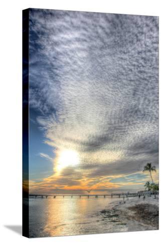 Key West Pier Sunset Vertical-Robert Goldwitz-Stretched Canvas Print