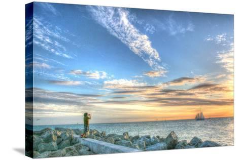 Key West Lone Figure Sunset-Robert Goldwitz-Stretched Canvas Print