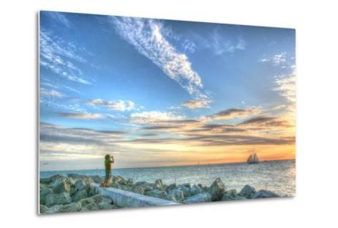 Key West Lone Figure Sunset-Robert Goldwitz-Metal Print