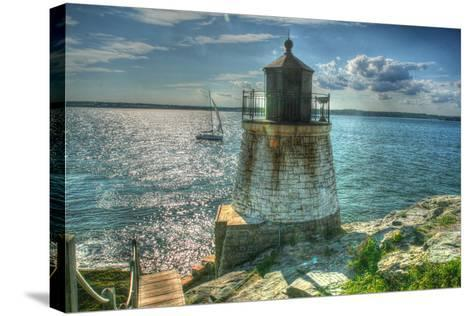 RI Lighthouse and Sloop-Robert Goldwitz-Stretched Canvas Print
