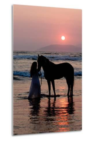 Girl with a Horse in the Water at Sunset-Nora Hernandez-Metal Print