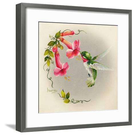 Hummingbirds with Trumpet Flowers 1-Peggy Harris-Framed Art Print