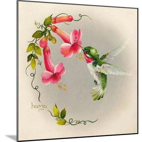 Hummingbirds with Trumpet Flowers 1-Peggy Harris-Mounted Giclee Print