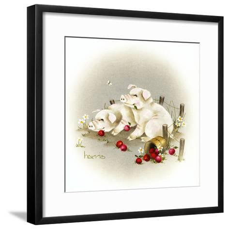 Piggin' Out-Peggy Harris-Framed Art Print