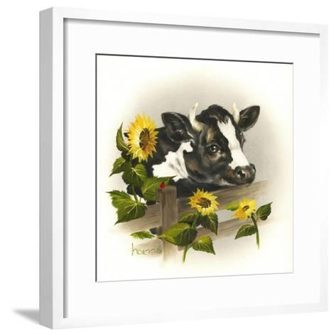 Bull and Sunflowers-Peggy Harris-Framed Art Print
