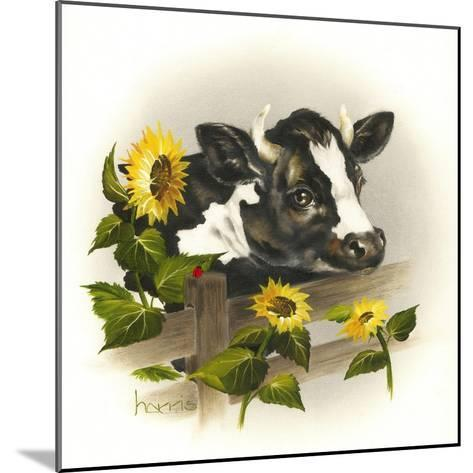 Bull and Sunflowers-Peggy Harris-Mounted Giclee Print