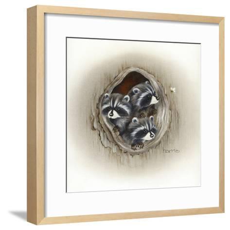 Raccoons in Hole-Peggy Harris-Framed Art Print