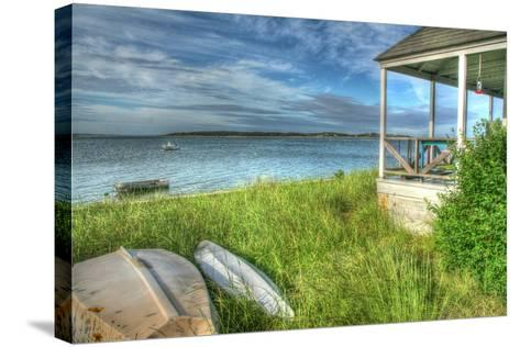 CC Porch and Boats-Robert Goldwitz-Stretched Canvas Print