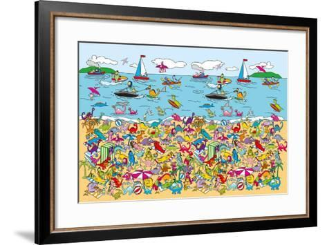 Dino Beach-The Paper Stone-Framed Art Print