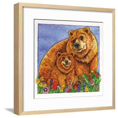 A Mother Bear and Her Cub in the Flowers. Mom-Wendy Edelson-Framed Art Print