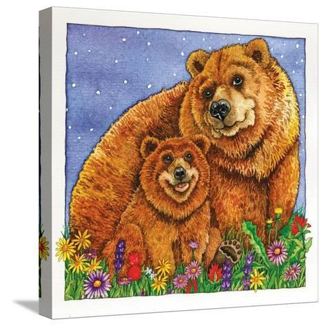 A Mother Bear and Her Cub in the Flowers. Mom-Wendy Edelson-Stretched Canvas Print