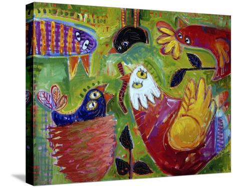 Barnyard Blues 1-Sara Catena-Stretched Canvas Print