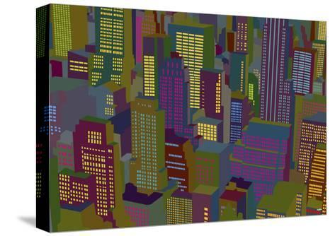 Cityscape Night-Yoni Alter-Stretched Canvas Print