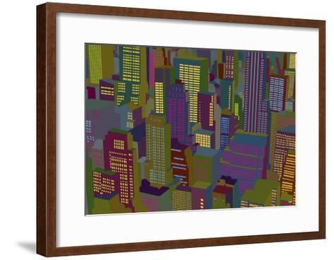 Cityscape Night-Yoni Alter-Framed Art Print