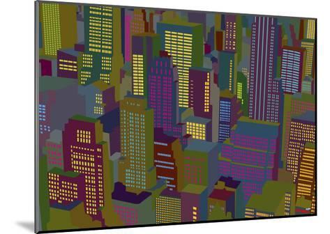 Cityscape Night-Yoni Alter-Mounted Giclee Print