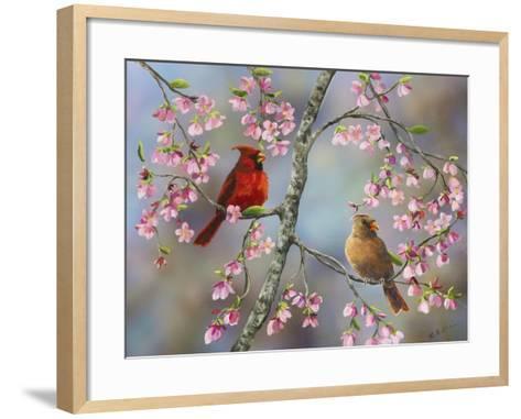 Spring Cardinals-Sarah Davis-Framed Art Print