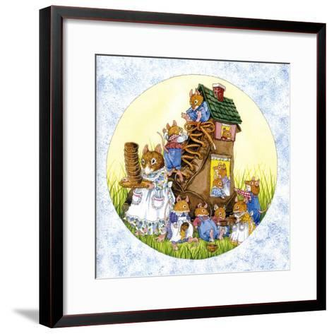Old Woman Shoe Mice-Wendy Edelson-Framed Art Print