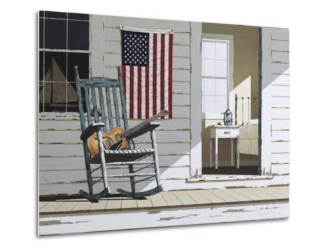Rocking Chair with Guitar-Zhen-Huan Lu-Metal Print