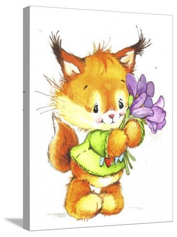 Baby Fox with Flowers-ZPR Int'L-Stretched Canvas Print
