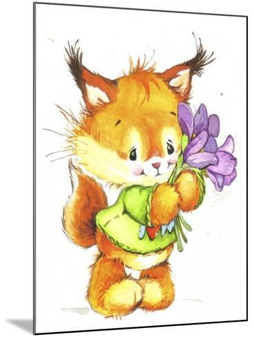 Baby Fox with Flowers-ZPR Int'L-Mounted Giclee Print
