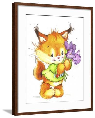 Baby Fox with Flowers-ZPR Int'L-Framed Art Print