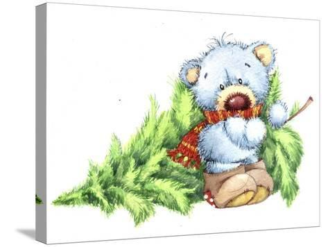 Baby Bear with Christmas Tree-ZPR Int'L-Stretched Canvas Print