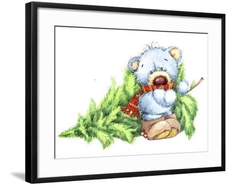 Baby Bear with Christmas Tree-ZPR Int'L-Framed Art Print