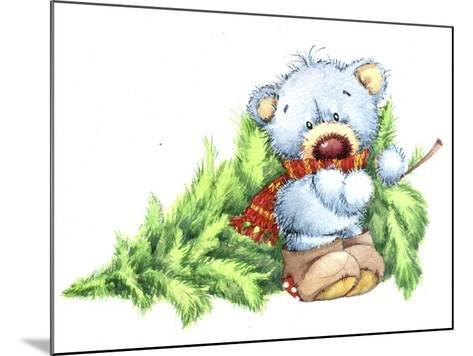 Baby Bear with Christmas Tree-ZPR Int'L-Mounted Giclee Print
