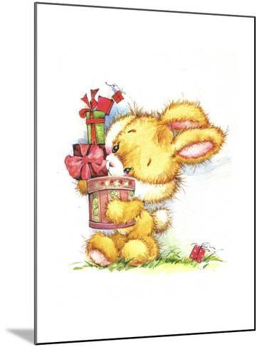 Bunny Rabbit with Gifts-ZPR Int'L-Mounted Giclee Print