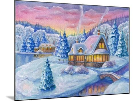 Cottage under the Snowcabin Winter-ZPR Int'L-Mounted Giclee Print