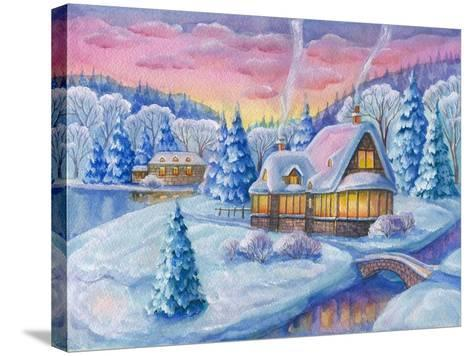 Cottage under the Snowcabin Winter-ZPR Int'L-Stretched Canvas Print