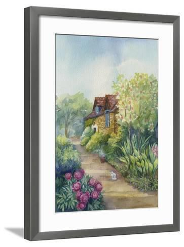 Cottage on a Dirt Road, Peonies in the Garden-ZPR Int'L-Framed Art Print