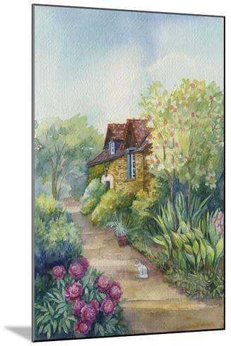 Cottage on a Dirt Road, Peonies in the Garden-ZPR Int'L-Mounted Giclee Print