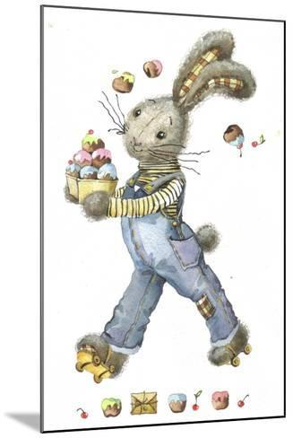 Bunny Rabbit on Roller Skates with Easter Eggs-ZPR Int'L-Mounted Giclee Print