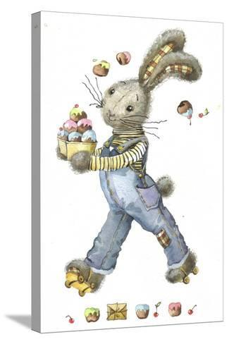 Bunny Rabbit on Roller Skates with Easter Eggs-ZPR Int'L-Stretched Canvas Print