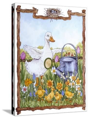 Duck, Chicks, Watering Can, Nestspring, Flowers-Wendy Edelson-Stretched Canvas Print