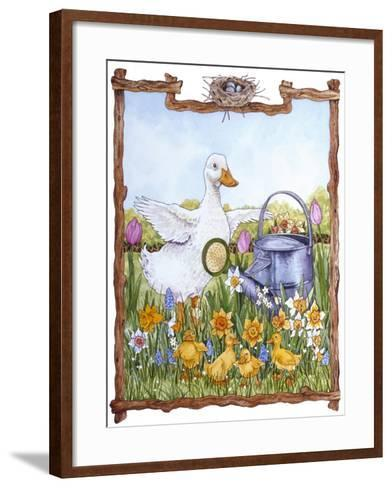 Duck, Chicks, Watering Can, Nestspring, Flowers-Wendy Edelson-Framed Art Print