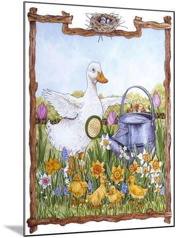 Duck, Chicks, Watering Can, Nestspring, Flowers-Wendy Edelson-Mounted Giclee Print