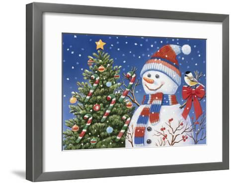 Snowman Decorating Tree-William Vanderdasson-Framed Art Print