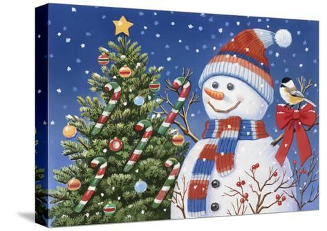 Snowman Decorating Tree-William Vanderdasson-Stretched Canvas Print