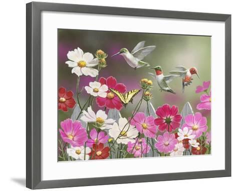 Cosmos and Hummingbirds-William Vanderdasson-Framed Art Print
