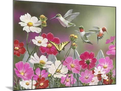 Cosmos and Hummingbirds-William Vanderdasson-Mounted Giclee Print