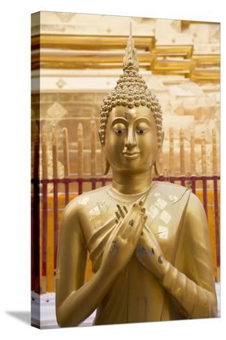 Thailand, Chiang Mai Province, Wat Phra That Doi Suthep. Buddha Statue-Emily Wilson-Stretched Canvas Print