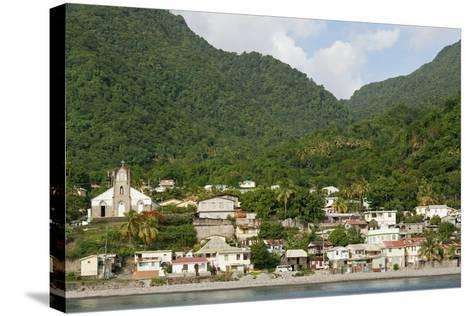 Dominica, Roseau, View of Villages South of Roseau on the Green Hills-Anthony Asael-Stretched Canvas Print