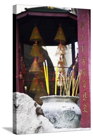 Asia, China, Macau, A-Ma Temple in Macau with Incense Burning-Terry Eggers-Stretched Canvas Print