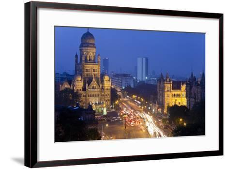 View over Victoria Terminus and Central Mumbai at Dusk, Mumbai, India-Peter Adams-Framed Art Print