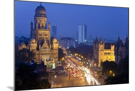 View over Victoria Terminus and Central Mumbai at Dusk, Mumbai, India-Peter Adams-Mounted Photographic Print