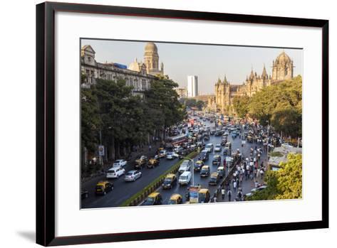Chhatrapati Shivaji Terminus Train Station and Central Mumbai, India-Peter Adams-Framed Art Print
